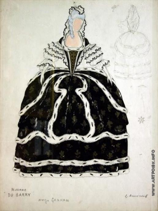 Анненков Ю. П. Дама в черном. Эскиз костюма