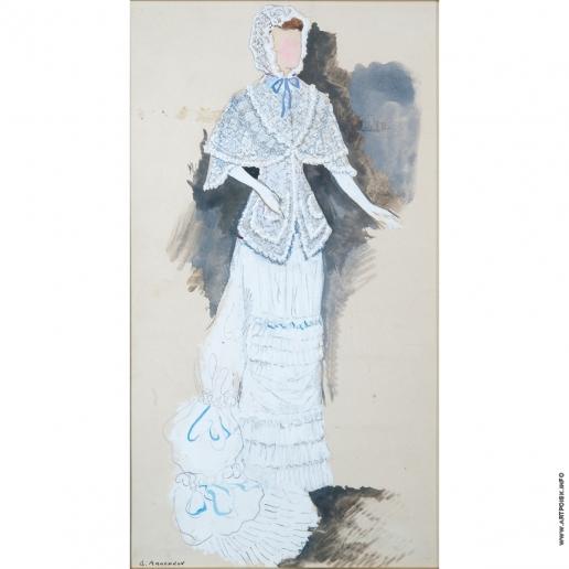 Анненков Ю. П. Дама в белом платье