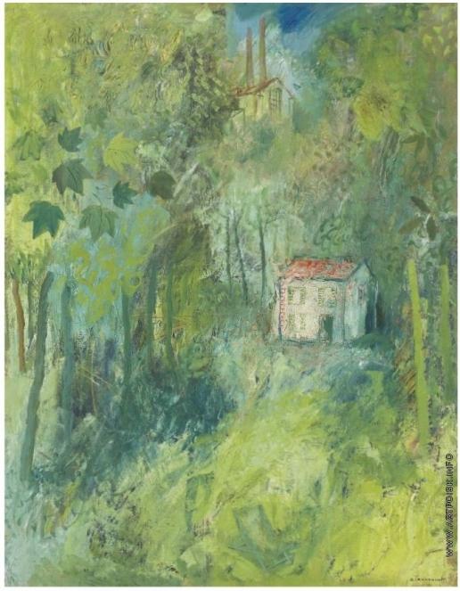 Анненков Ю. П. Коттедж с красной крышей в лесу