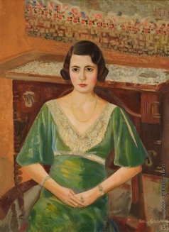 Григорьев Б. Д. Портрет женщины в зелёном платье