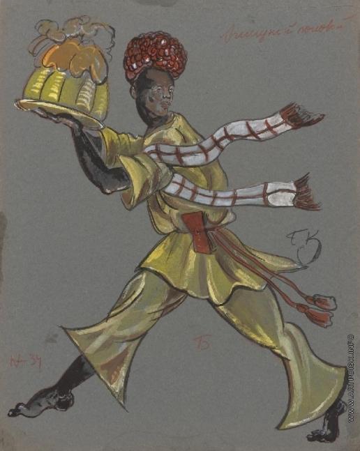 Кустодиев Б. М. Эскиз костюма для постановки И.Замятина «Блоха» по произведению Н.Лескова