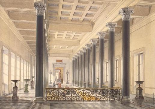Гау Э. П. Парадная лестница Нового Эрмитажа Площадка II этажа (перспектива с севера на юг)