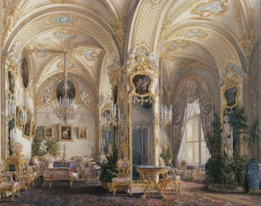 Гау Э. П. Виды залов Зимнего дворца. Гостиная в стиле второго рококо