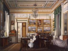 Гау Э. П. Виды залов Зимнего дворца. Кабинет императора Александра II