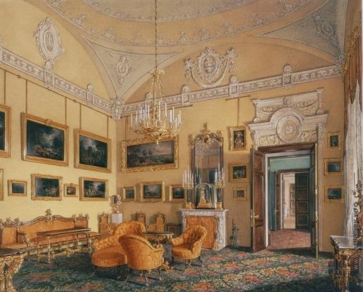 Гау Э. П. Виды залов Зимнего дворца. Первая запасная половина. Гостиная герцога М. Лейхтенбергского