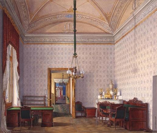Гау Э. П. Виды залов Зимнего дворца. Учебная комната во второй запасной половине дворца