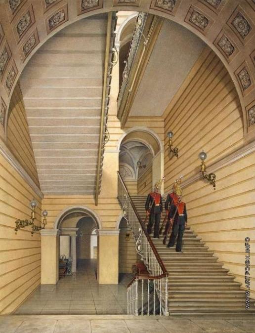 Гау Э. П. Виды залов Зимнего дворца. Церковная лестница