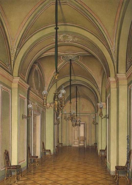 Гау Э. П. Виды залов Зимнего дворца. Четвертая запасная половина. Коридор