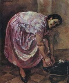 Кончаловский П. П. Портрет Натальи Петровны Кончаловской, дочери художника в розовом платье