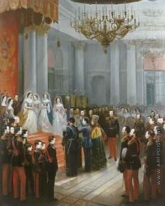 Виллевальде Б. П. Его Императорского Высочества Государя Наследника Цесаревича Николая Александровича в Георгиевском Тронном зале Зимнего дворца 8 сентября 1859 года