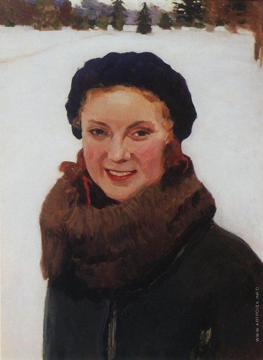Грабарь И. Э. Зимой. Портрет О.И.Грабарь, дочери художника
