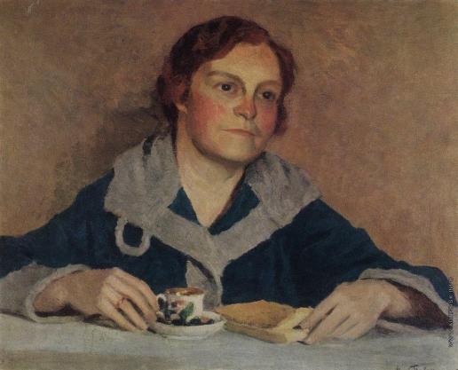 Грабарь И. Э. За чтением. Портрет В.М.Грабарь, жены художника