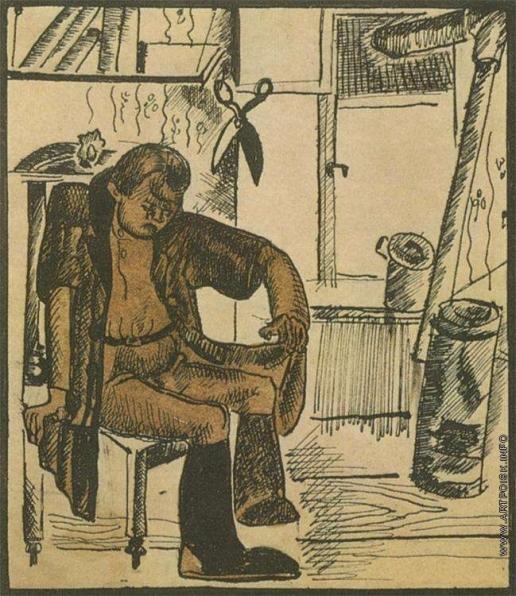 Дейнека А. А. Иллюстрация к басне И.А.Крылова «Кот и повар»