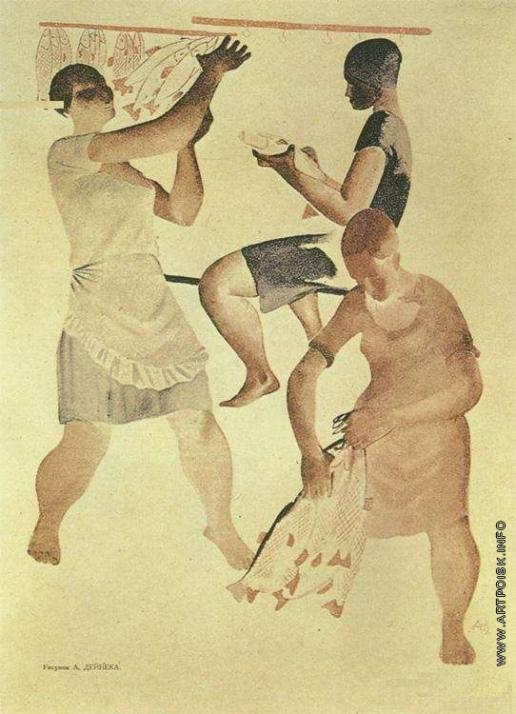 Дейнека А. А. Рыбачки. Иллюстрация из журнала «Прожектор»