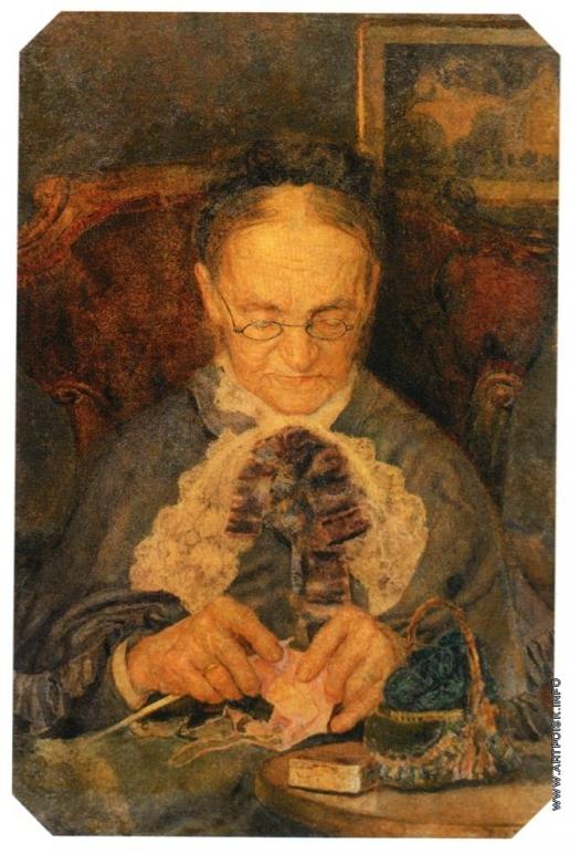 Врубель М. А. Портрет старушки Кнорре за вязанием