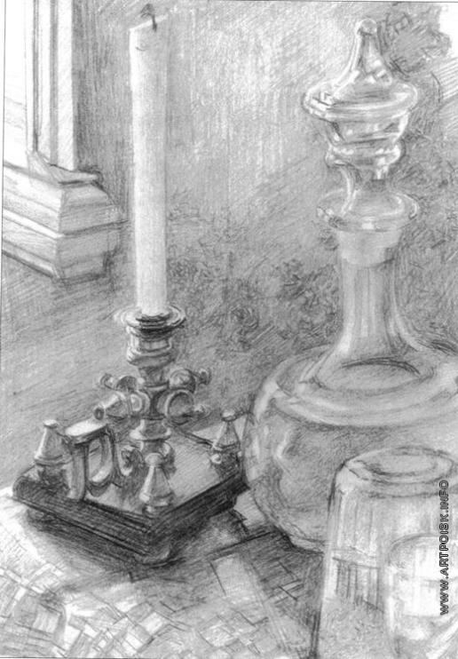 Врубель М. А. Натюрморт. Подсвечник, графин, стакан