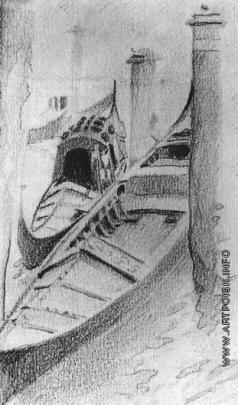 """Врубель М. А. """"Две гондолы на причале"""" Вид из окна мастерской Михаила Врубеля в Венеции"""