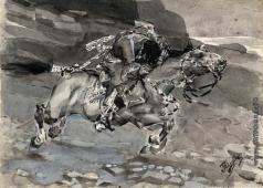 Врубель М. А. Скачущий всадник (Несется конь быстрее лани...)