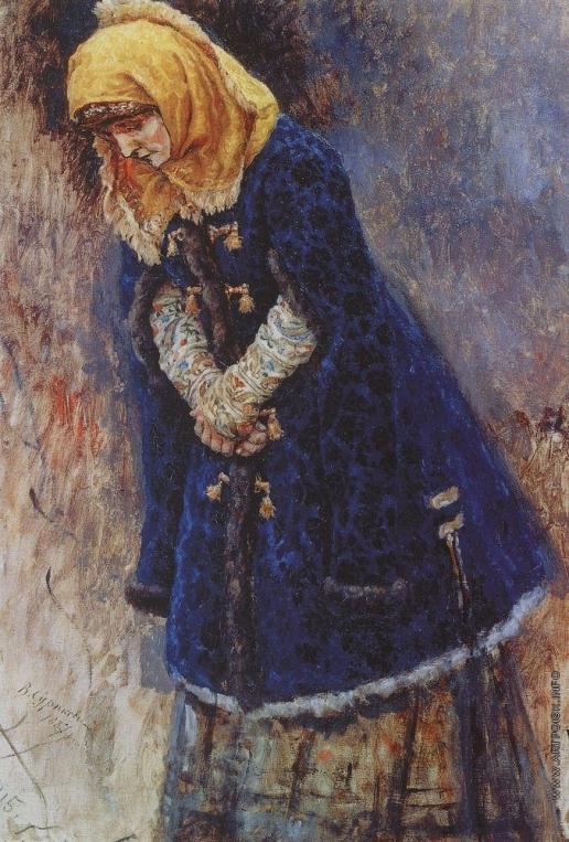Суриков В. И. Боярышня в синей шубке. Этюд для картины Боярыня Морозова