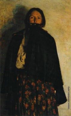 Малявин Ф. А. Крестьянка, закрывающая свиткой рот