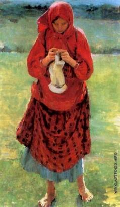 Малявин Ф. А. Крестьянская девушка с чулком