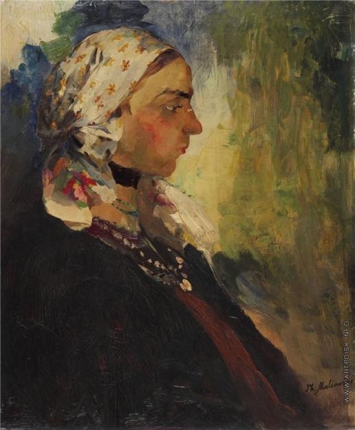 Малявин Ф. А. Портрет крестьянки в белом платке