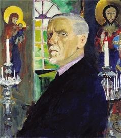 Малявин Ф. А. Автопортрет с иконами