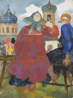 Малявин Ф. А. Русские крестьянки у церкви