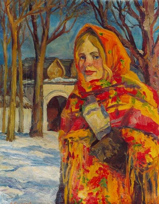 Брусилов А. В. Девушка в узорном платке